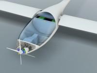 Modellzeichnung der B13E mit ausgefahrenem Propeller.